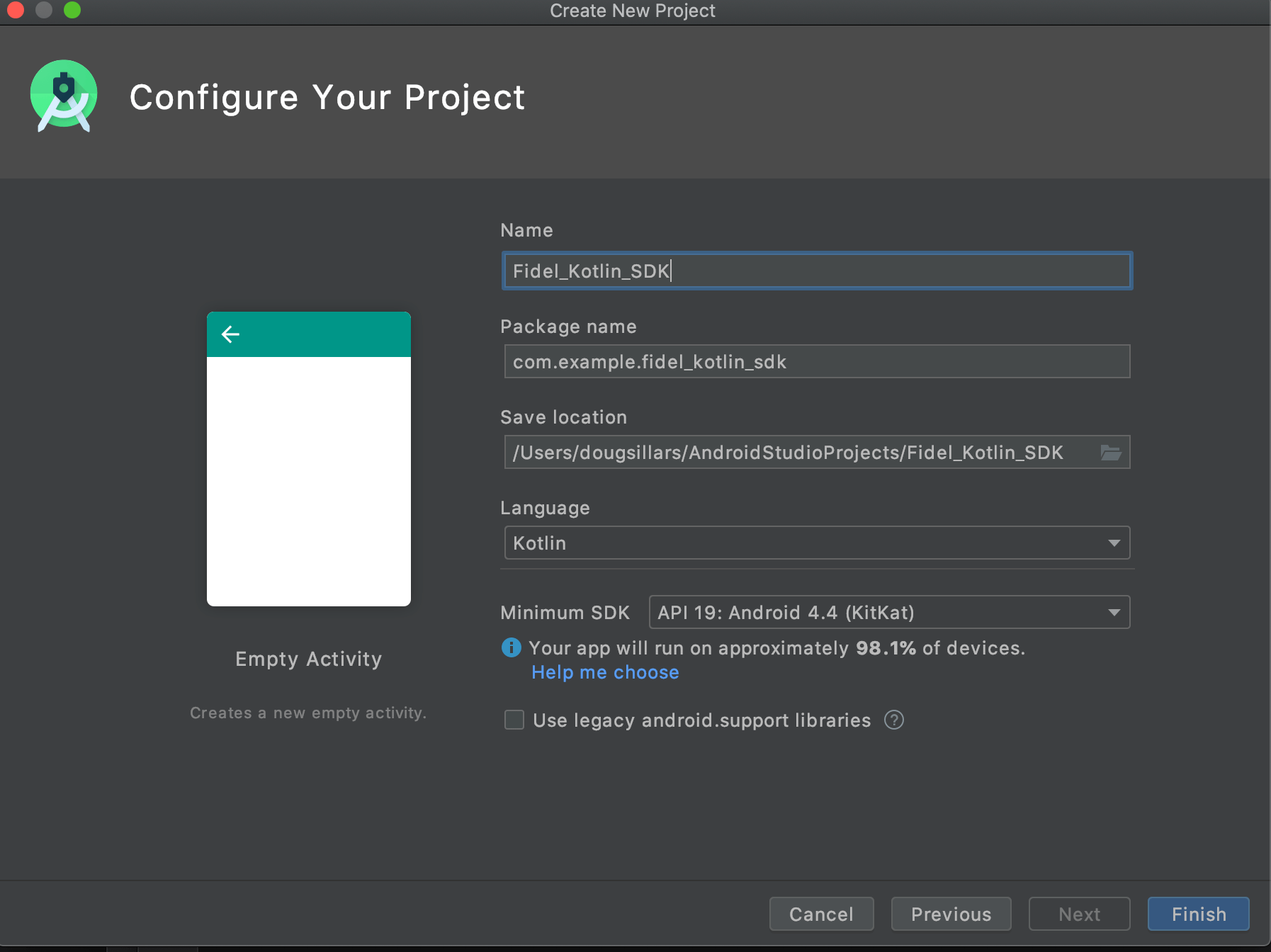 Screenshot of Android Studio Project configuration